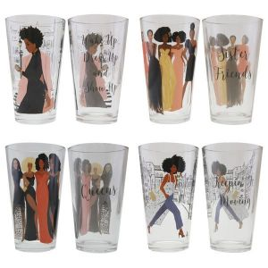 African American Sister Friends Drinking Glass Set