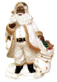 Black Santa With The List in white Figurine