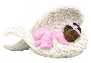 Baby Girl in Angel Wing African American Figurine