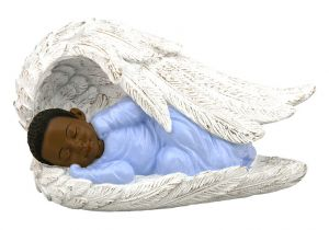 Baby Boy in Angel Wing African American Figurine