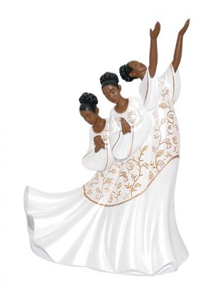 Giving Praise In White African American Figurine