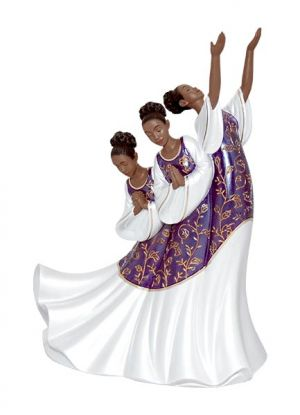 Giving Praise In Purple African American Figurine