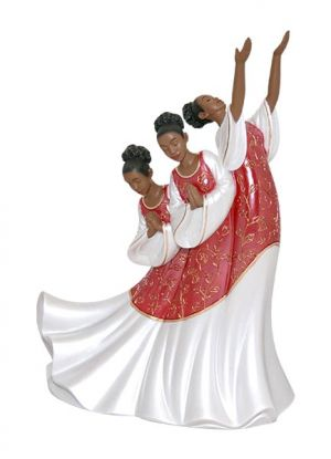 Giving Praise In Red  African American Figurine