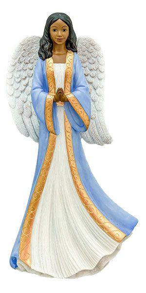 Humble Prayer Angel in blue African American Figurine