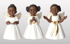 3 african american cherub ornaments in white singing praise prayer and worship