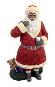 Africa American Santa Figurine with cookie, LG