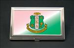 Alpha Kappa Alpha AKA Sorority Pink and Green Business Card or Credit Card Case