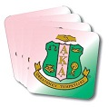Alpha Kappa Alpha Sorority Pink and Green Coasters