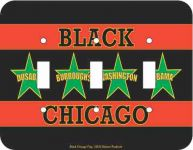 Black Chicago Flag Triple Light Switch Plate Cover