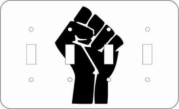 Black Power Fist Quad Light Switch Plate Cover