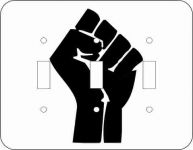 Black Power Fist Triple Light Switch Plate Cover