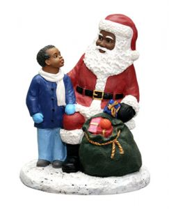 Black Santa Claus Figurine with African American Boy