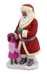 Black Santa Figurine with African American Girl