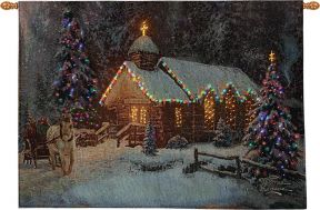 Christmas Chapel Fiber Optic Tapestry Wall Decor