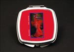 Ebony All Red African American Duel Mirror Compact