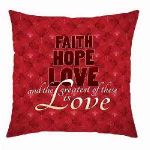 Faith Hope Love Message Pillow