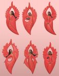 African American Flat Style Angel Ornaments in Red