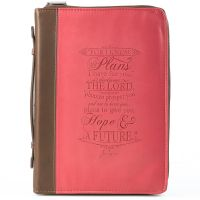 For I Know The Plans Pink and Brown Luxleather Bible Cover