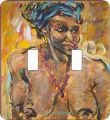 Head Wrap African American Double Switch Plate Cover