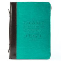 I Can Do Everything Turquoise and Brown  LuxLeather Bible Cover