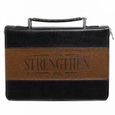 I will Strengthen You Lux Leather Two Toned Black and Brown Bible Cover