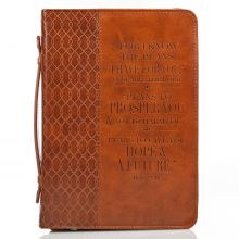 Brown Two Toned Luxleather Bible Cover featuring Jeremiah 29:11