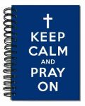 Keep Calm and Pray On Navy Spiral Journal with Cross