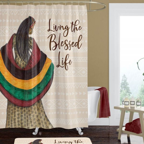 Living the Blessed Life Afrocentric Shower Curtain