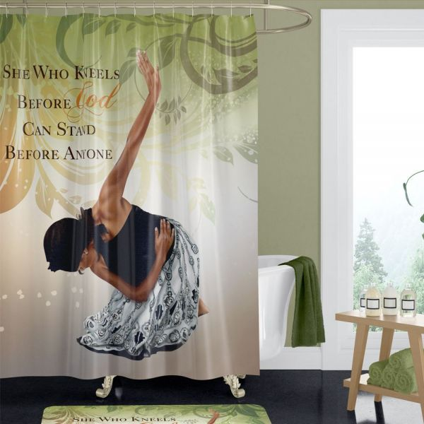She Who Kneels Afrocentric Shower Curtain